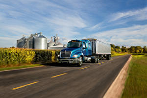 Photo International Lorry Roads Light Blue Driving  automobile