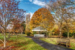 Hintergrundbilder Irland Herbst Garten Bäume Bank (Möbel) Blatt Botanic Gardens Dublin Natur