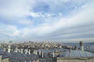 Bakgrundsbilder på skrivbordet Istanbul Turkiet Himmel Hus Yttertak Städer