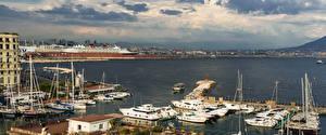 Fotos Italien Gebäude Bootssteg Segeln Motorboot Jacht Bucht Napoli Städte