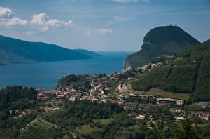 Image Italy Lake From above Lake Garda, Lago di Garda Cities