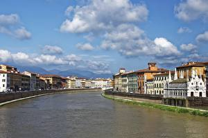 Images Italy Tuscany River Clouds Arno, Pisa Cities