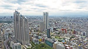 壁纸、、日本、東京都、超高層建築物、建物、メガロポリス、都市