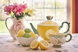 Bilder Flötenkessel Zitrone Tasse Vase Lebensmittel