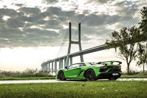 Wallpaper Lamborghini Bridges Yellow green 2018, SVJ, Aventador SVJ