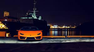 Photo Lamborghini Front Orange Night Huracan 2016 LP 580-2 Cars