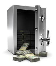 Fotos Geld Papiergeld Dollars Weißer hintergrund Tresor 3D-Grafik