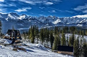 Pictures Mountain Winter Forest Houses Landscape photography Slovakia Snow Tatra mountains Nature
