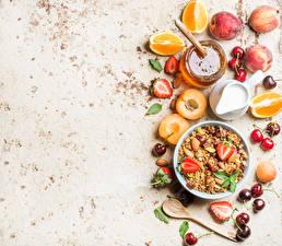 Wallpapers Muesli Fruit Honey Milk Apricot Citrus Strawberry Cherry Breakfast