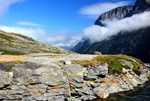 Bilder Norwegen Gebirge Felsen Wolke Natur