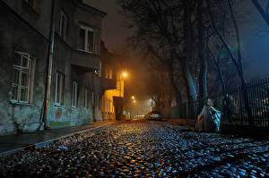 Image Poland Warsaw Houses Street Night Street lights Fence Cities