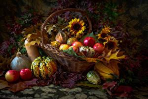 Hintergrundbilder Kürbisse Äpfel Sonnenblumen Herbst Weidenkorb Blatt Lebensmittel