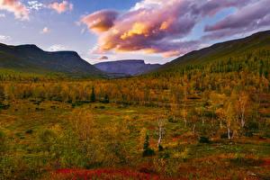 Fotos Russland Herbst Gebirge Bäume Wolke Khibiny Natur