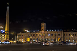 Image Russia St. Petersburg Houses Monuments Night Street lights