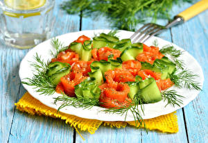 Photo Salads Vegetables Dill Boards Plate