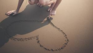 Bilder Sand Hand Schatten Herz