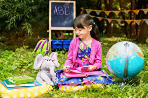 Image School Elephants Toys Little girls Globe Book Smile Children