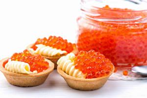 Tapety na pulpit Owoce morza Kawior Białe tło Oleje Czerwony Ziarna Tartlets Jedzenie