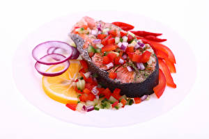 Pictures Seafoods Fish - Food Vegetables Lemons White background Food