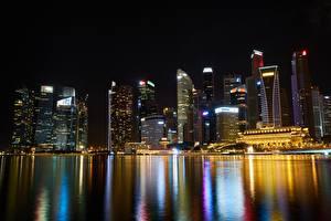 Fotos Singapur Wolkenkratzer Haus Megalopolis Nacht Städte