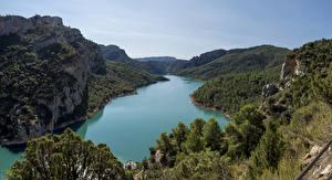 Bilder Spanien Berg Flusse Wald Catalonia Natur