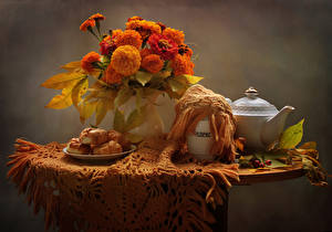 Pictures Still-life Tagetes Kettle Pastry Table Vase Flowers Food