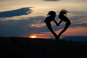 Wallpaper Sunrise and sunset Evening Heart Silhouettes 2 Girls