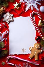 Bilder Süßigkeiten Kekse Neujahr Vorlage Grußkarte Design Schneeflocken