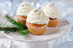 Fotos Süßigkeiten Cupcake Drei 3
