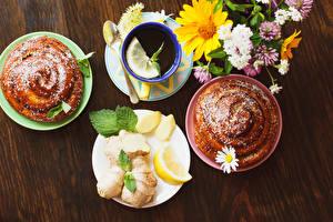 Fotos Tee Backware Zitrone Bretter Tasse Untertasse Lebensmittel