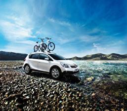 Bilder Toyota Weiß Metallisch Fahrrad 2014-16 E'z Cross auto