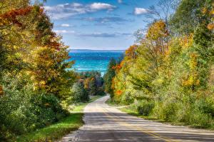 Hintergrundbilder Vereinigte Staaten Herbst Straße Michigan Bäume Leelanau Natur