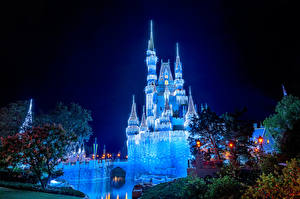 Image USA Disneyland Park Castle California Anaheim Night Design Street lights Cities
