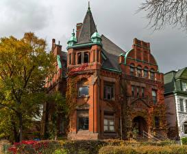 Fotos Vereinigte Staaten Haus Herbst Chicago Stadt Herrenhaus Design Städte