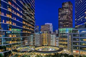 Image USA Building Evening Texas Houston