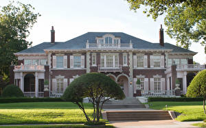 Wallpaper USA Houses Mansion Design Shrubs Lawn Cities