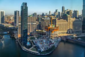Fotos USA Gebäude Wolkenkratzer Brücken Chicago Stadt Bucht
