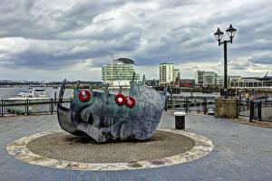 Image United Kingdom Building Monuments Street lights Cardiff