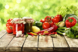Wallpaper Vegetables Tomatoes Pepper Garlic Chili pepper Wood planks Jar Food