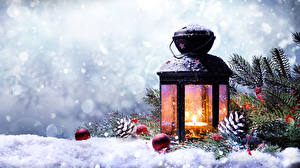 Picture Winter Christmas Snow Lantern Branches Pine cone Balls Nature