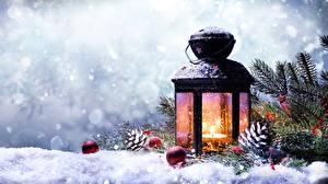 Bilder Winter Neujahr Schnee Laterne Ast Zapfen Kugeln Natur