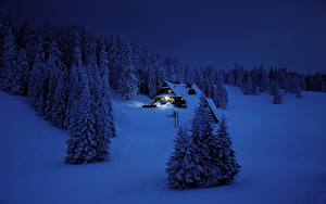 Photo Winter Forests Building Snow Night Spruce