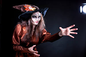Pictures Witch Hands Hat Uniform Brown haired Makeup young woman