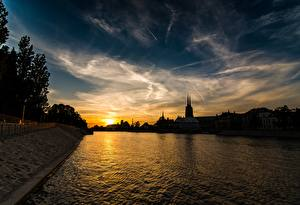 Pictures Wroclaw Poland Sunrise and sunset Rivers Sky Evening Silesia