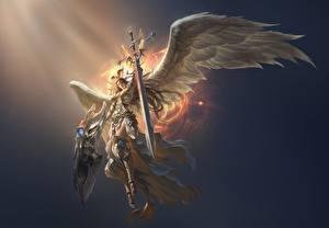 Bilder Engeln Krieger League of Legends Schwert Flügel Rüstung victoria computerspiel Fantasy Mädchens