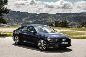 Hintergrundbilder Audi Blau Metallisch 2018 A6 40 TDI quattro Worldwide Autos
