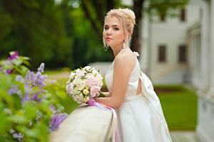 Hintergrundbilder Sträuße Brautpaar Blondine Kleid Mädchens