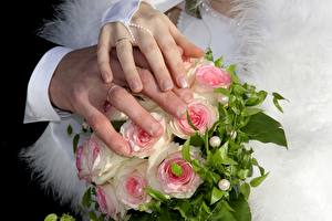 Photo Bouquets Fingers Hands Wedding Manicure Ring