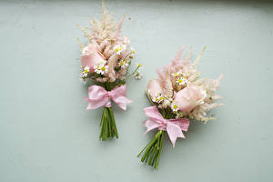 Pictures Bouquets Rose Camomiles Gray background Two Bowknot Flowers
