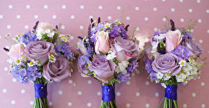 Wallpaper Bouquets Roses Hydrangea Camomiles Three 3 Flowers